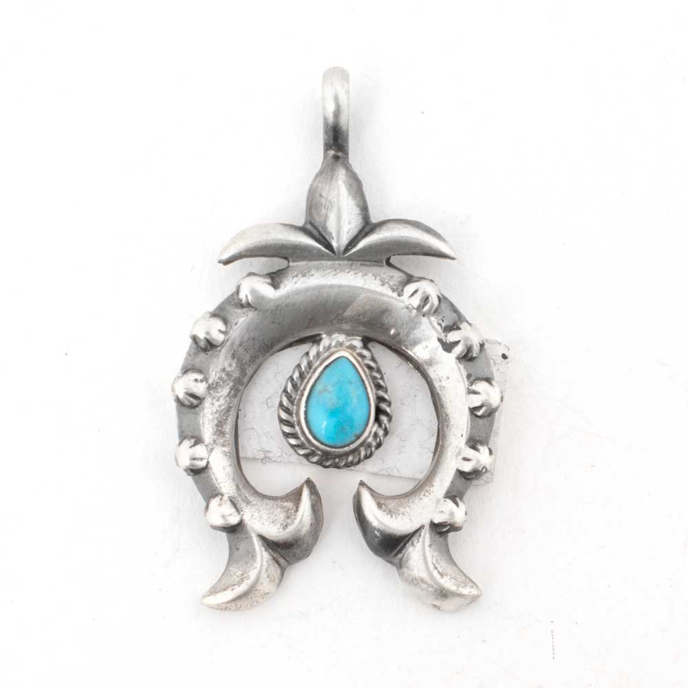 Kingman Turquoise Naja Pendant WOMEN - Accessories - Jewelry - Pins & Pendants Indian Touch of Gallup Teskeys