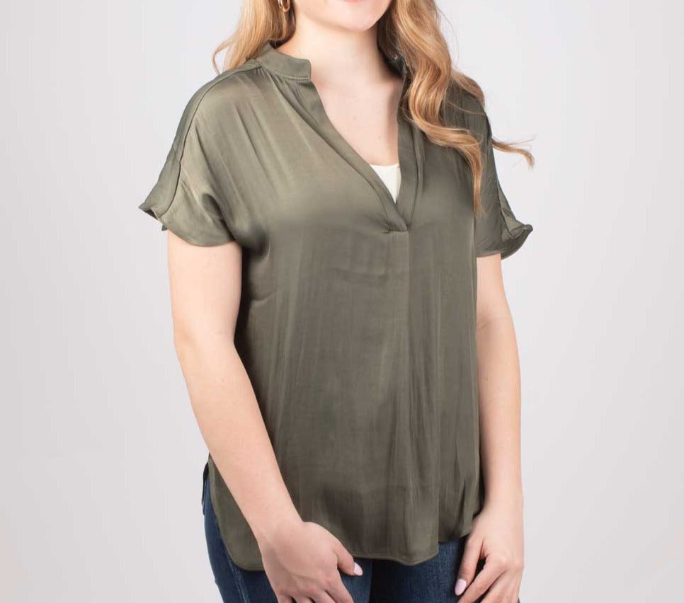 Women's V-Neck Esme Silky Top WOMEN - Clothing - Tops - Short Sleeved Reset By Jane Teskeys