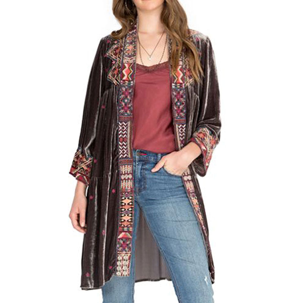 Johnny Was Ravi Velvet Tier Duster WOMEN - Clothing - Tops - Long Sleeved JOHNNY WAS COLLECTION Teskeys