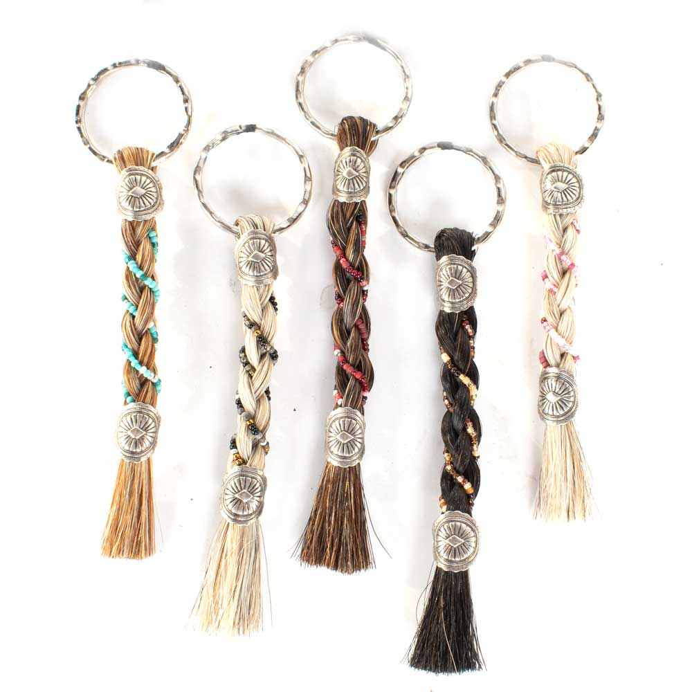 Round Braided Horsehair Keychain with Beads WOMEN - Accessories - Small Accessories Cowboy Collectibles Teskeys