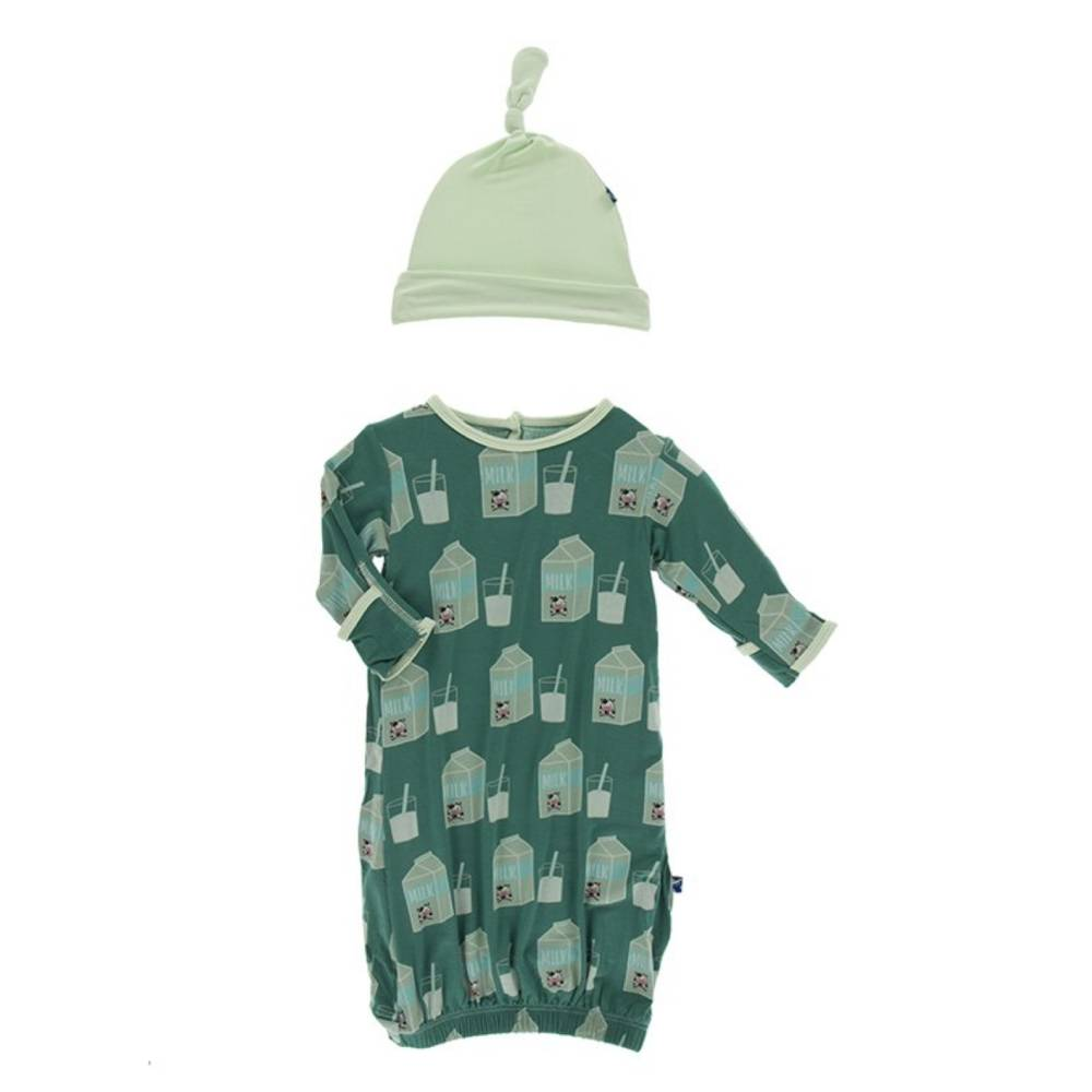 Kickee Pants Print Gown & Knot Hat Set - Multiple Prints KIDS - Baby - Baby Girl Clothing Teskeys Teskeys