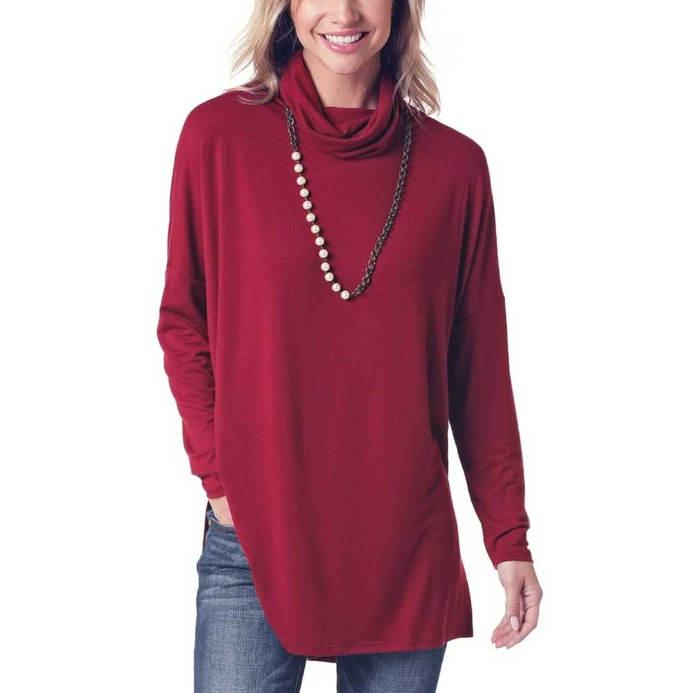 Panhandle Ladies Burgundy Long Sleeve Tunic Shirt WOMEN - Clothing - Tops - Tunics Panhandle Teskeys