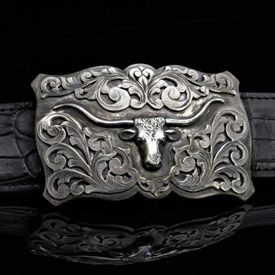 Comstock Heritage Classic Sterling Silver Longhorn Buckle ACCESSORIES - Additional Accessories - Buckles COMSTOCK HERITAGE Teskeys