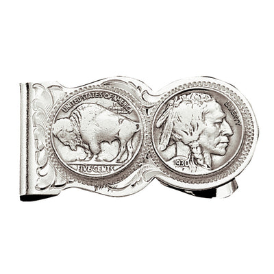 Montana Silversmiths Buffalo Indian Nickel Scalloped Money Clip MEN - Accessories - Wallets & Money Clips Montana Silversmiths Teskeys