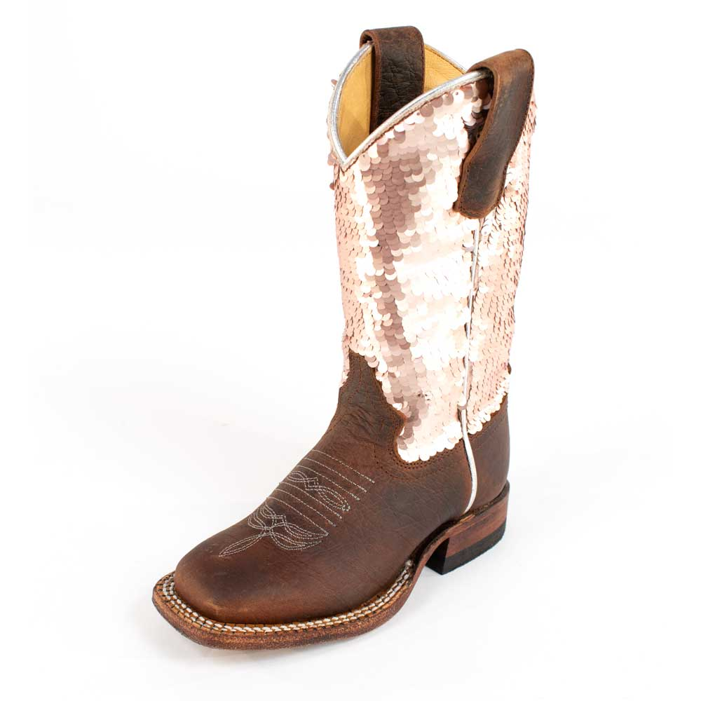 Macie Bean Kid's Distressed Bison Sparkle Magic Boot KIDS - Girls - Footwear - Boots ANDERSON BEAN BOOT CO. Teskeys