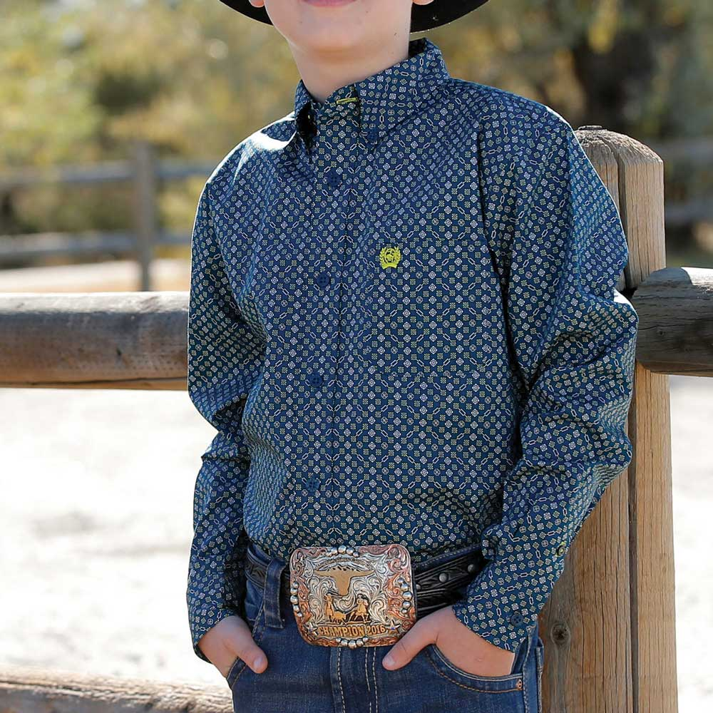 Cinch Boy's/Toddler Teal and Blue Long Sleeve Western Shirt KIDS - Boys - Clothing - Shirts - Long Sleeve Shirts CINCH Teskeys