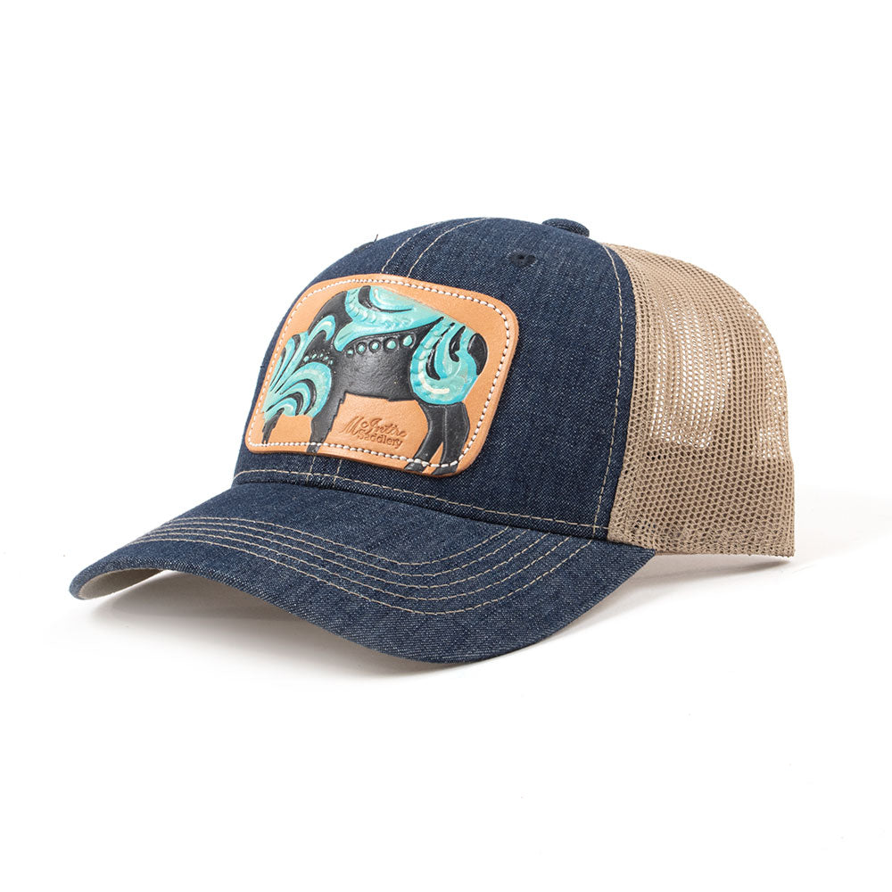 McIntire Saddlery Blue and Turquoise Buffalo Cap WOMEN - Accessories - Caps, Hats & Fedoras MCINTIRE SADDLERY Teskeys