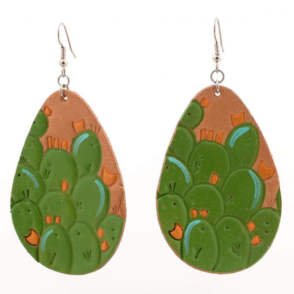 Green Cactus Painted Earrings with Peach Blooms WOMEN - Accessories - Jewelry - Earrings MCINTIRE SADDLERY Teskeys