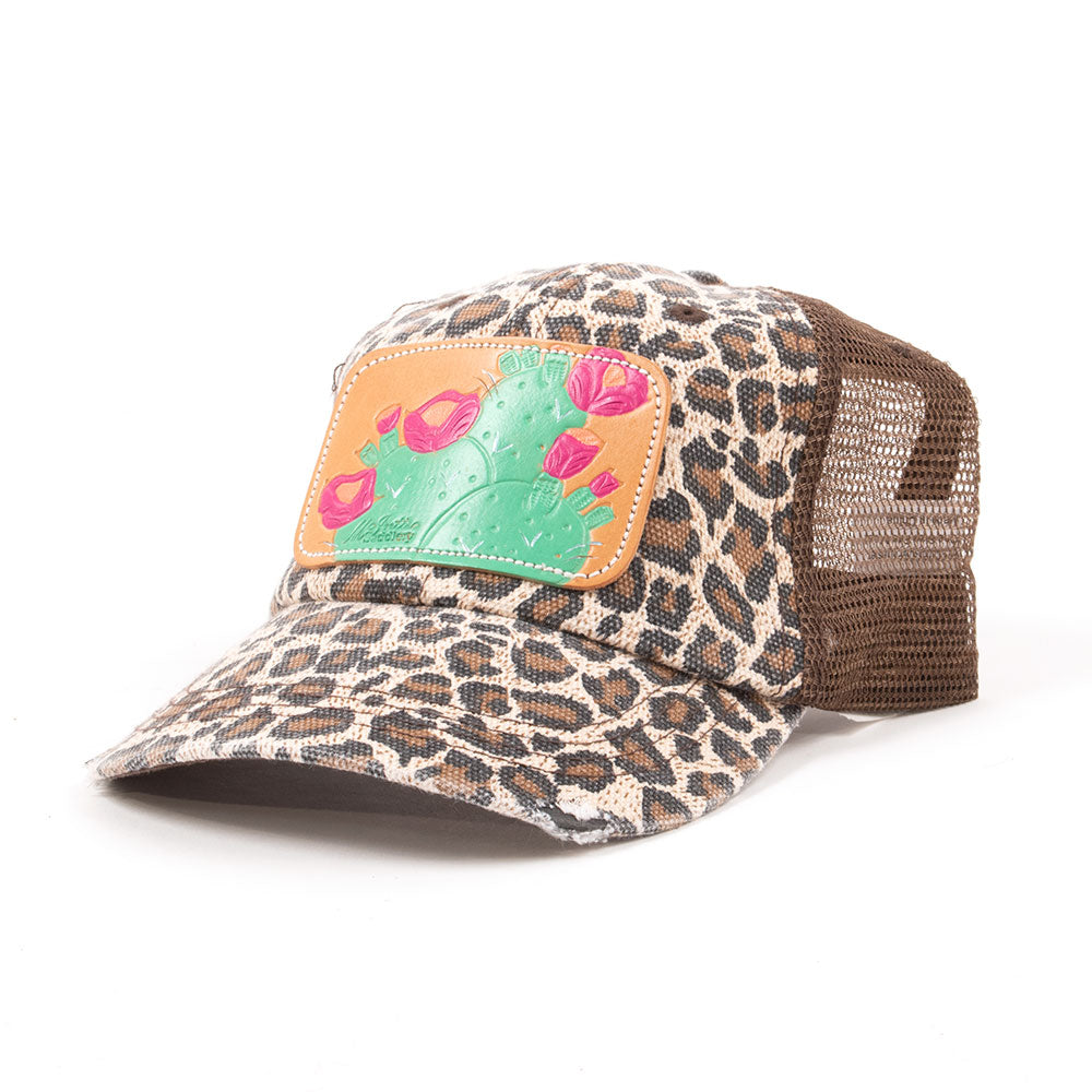 McIntire Saddlery Leopard and Pink Blossoms Cap WOMEN - Accessories - Caps, Hats & Fedoras MCINTIRE SADDLERY Teskeys