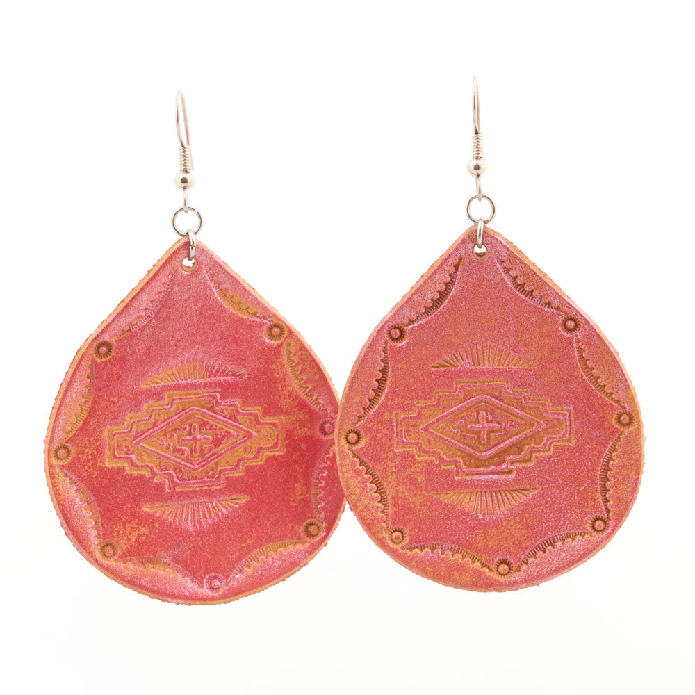 Red Metallic Aztec Small Bell Earrings WOMEN - Accessories - Jewelry - Earrings MCINTIRE SADDLERY Teskeys