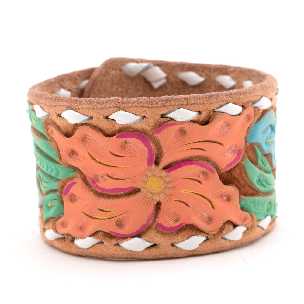Tooled White Stitch Leather Cuff WOMEN - Accessories - Jewelry - Bracelets MCINTIRE SADDLERY Teskeys