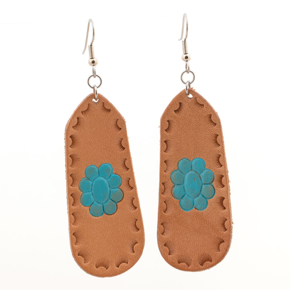 Turquoise Stone Flower Leather Bar Earrings WOMEN - Accessories - Jewelry - Earrings MCINTIRE SADDLERY Teskeys