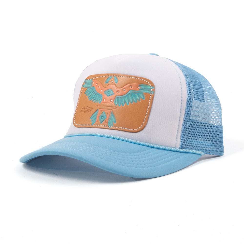 McIntire Saddlery Turquoise and Peach T-Bird Trucker Cap WOMEN - Accessories - Caps, Hats & Fedoras MCINTIRE SADDLERY Teskeys
