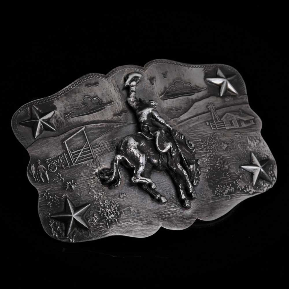 Comstock Heritage Sterling Silver Morgan Scene Buckle w/Bronc and Stars ACCESSORIES - Additional Accessories - Buckles COMSTOCK HERITAGE Teskeys