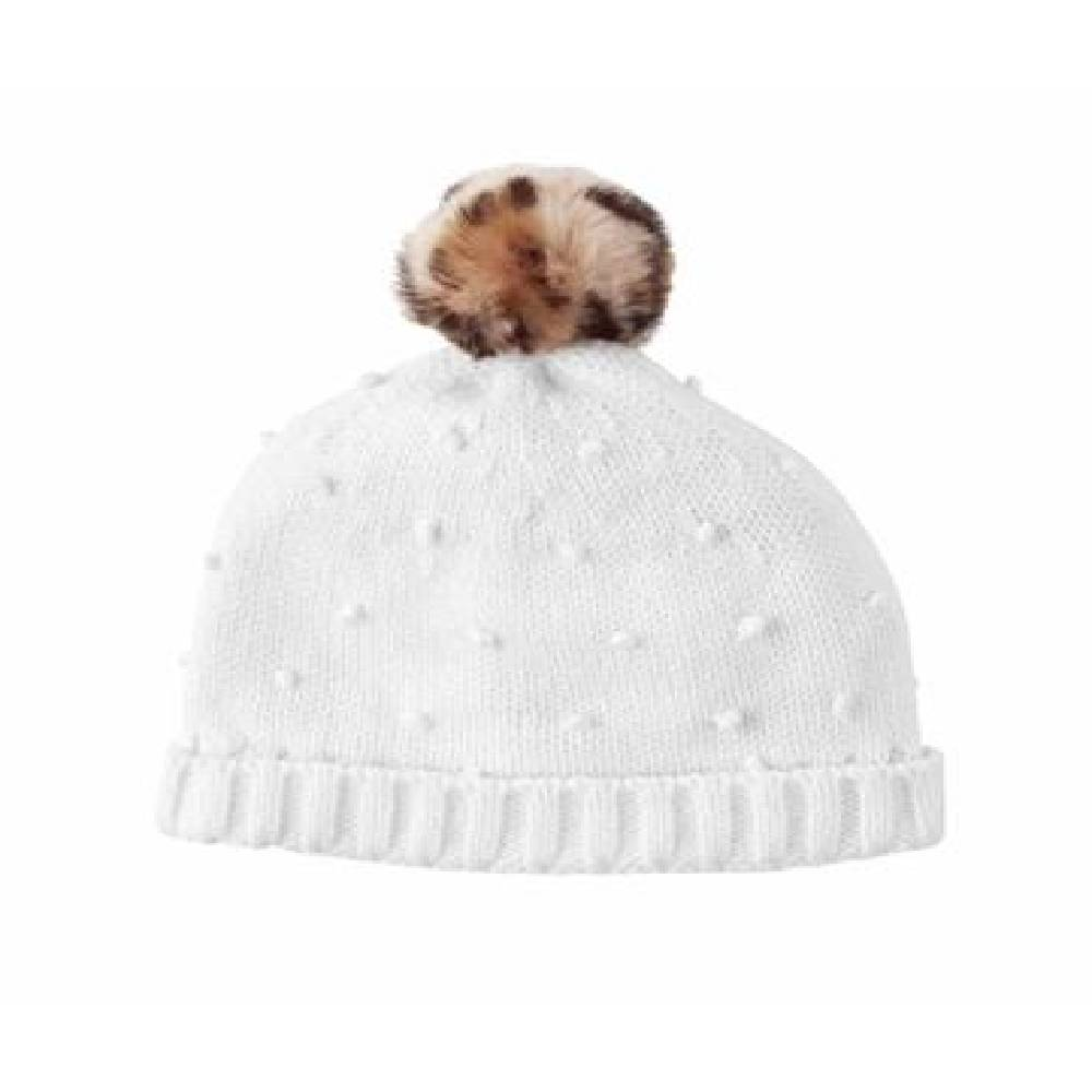 Ivory Puff Knit Hat KIDS - Baby - Baby Accessories Mud Pie Teskeys