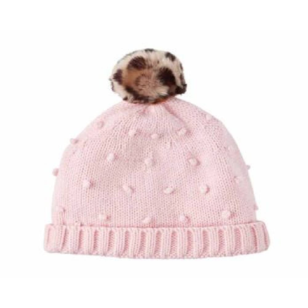 Toddler Pink Puff Knit Hat KIDS - Baby - Baby Accessories Mud Pie Teskeys