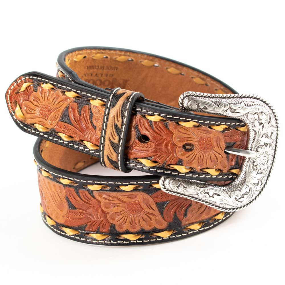 Nocona Men's Tan Floral Embossed Belt MEN - Accessories - Belts & Suspenders M&F Western Products Teskeys