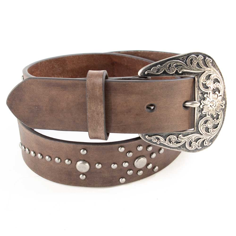 Nocona Brown Floral Nailhead Belt WOMEN - Accessories - Belts M&F Western Products Teskeys