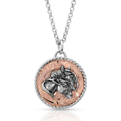 Montana Silversmiths Rose Concho Medallion Necklace with Double Horsehead WOMEN - Accessories - Jewelry - Necklaces Montana Silversmiths Teskeys