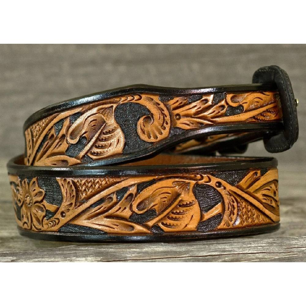 Vogt Two Tone Black Russet Floral Tapered Belt MEN - Accessories - Belts & Suspenders VOGT SILVERSMITHS Teskeys