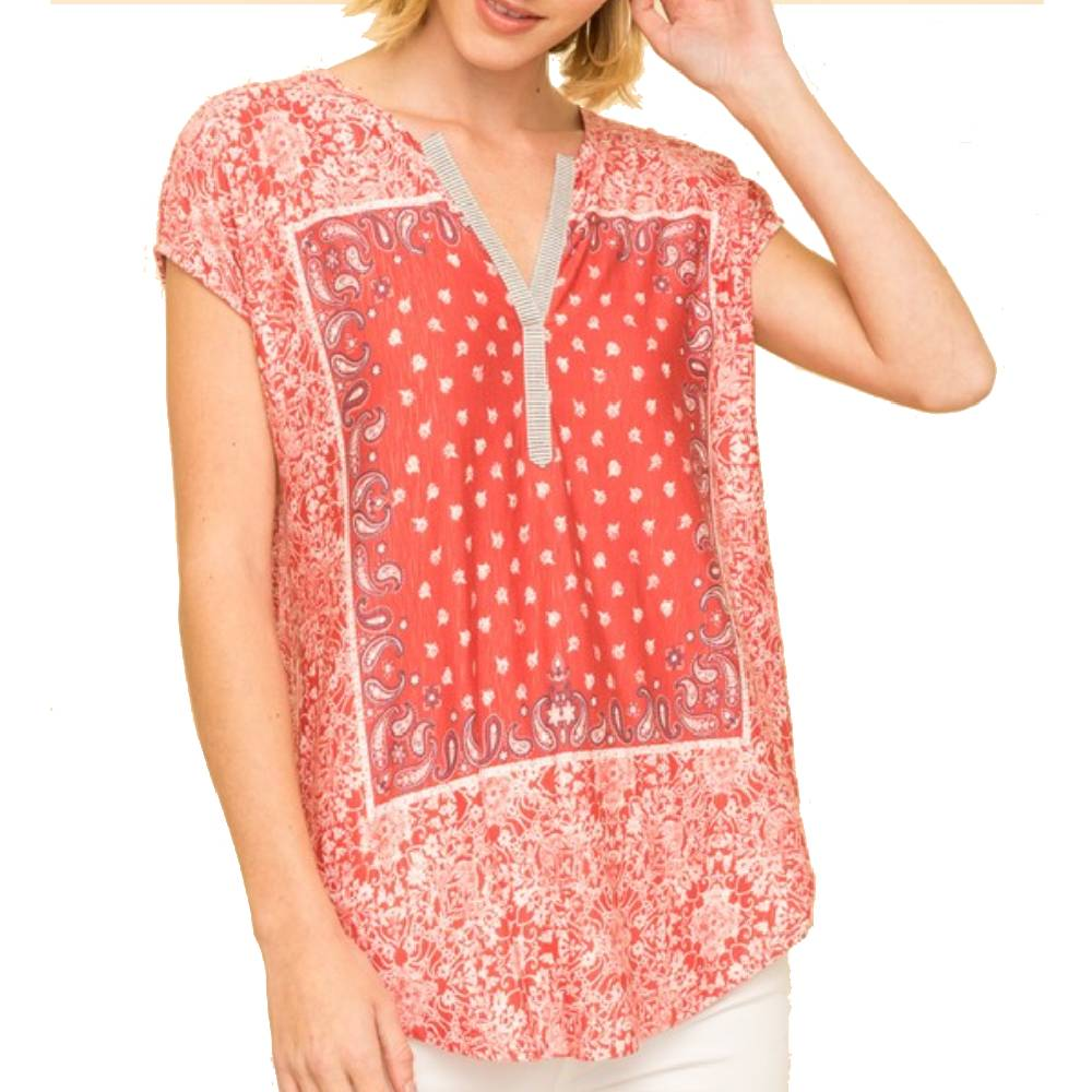 Bandana Printed Jersey Top WOMEN - Clothing - Tops - Sleeveless MYSTREE INC. Teskeys