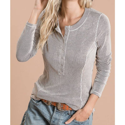 Textured Stripe Henley Top WOMEN - Clothing - Tops - Long Sleeved Bucket List Teskeys