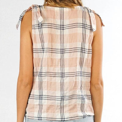 Plaid Tie Shoulder Tank WOMEN - Clothing - Tops - Sleeveless Clothing Illustrated, Inc. Teskeys