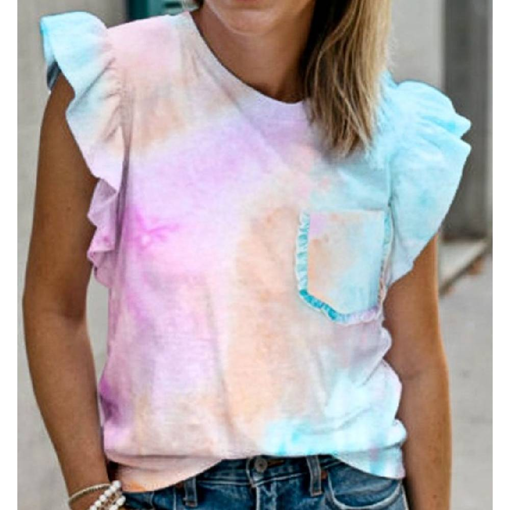 Tie Dye Ruffle Sleeve Top WOMEN - Clothing - Tops - Short Sleeved Mazik Teskeys