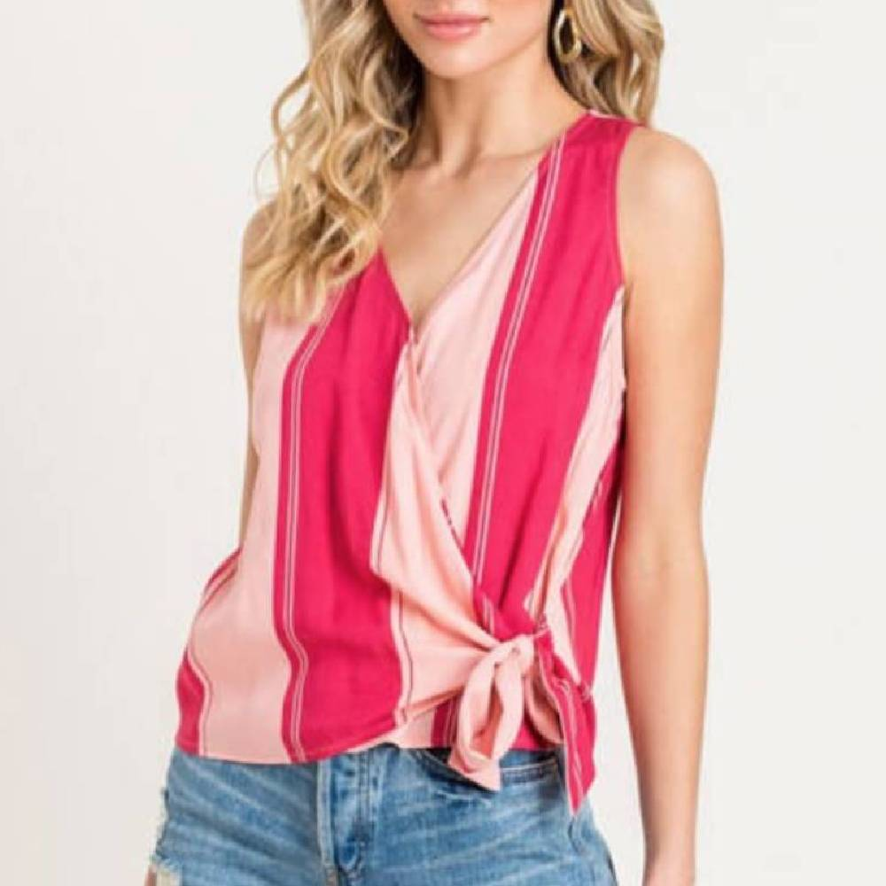 Lush Women's Two Toned Wrap Top WOMEN - Clothing - Tops - Sleeveless LUSH Teskeys