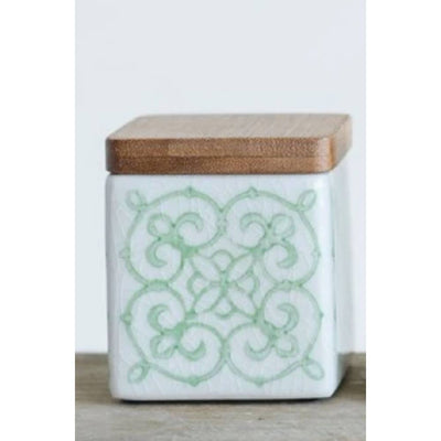 Square Stoneware Canister w/ Bamboo Lid Home & Gifts - Home Decor - Decorative Accents Creative Co-Op Teskeys