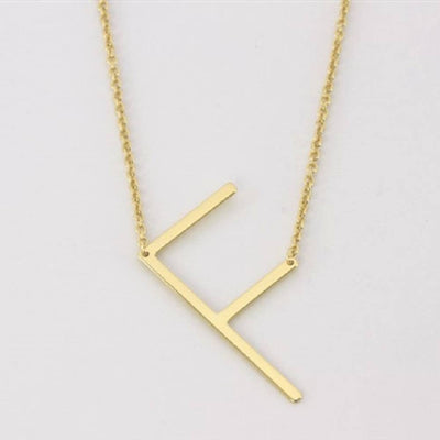 Gold Medium Sideways Initial Necklace WOMEN - Accessories - Jewelry - Necklaces Cool and Interesting Teskeys
