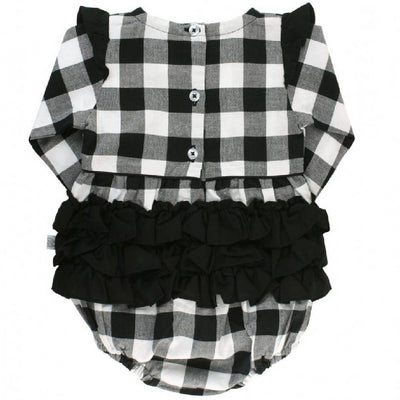 Ruffle Butts Black & White Plaid Bubble Romper KIDS - Baby - Baby Girl Clothing RUFFLE BUTTS/RUGGED BUTTS Teskeys