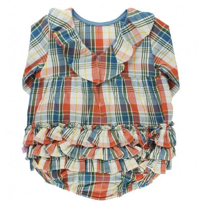 Ruffle Butts Miller Plaid V-Back Bubble Romper KIDS - Baby - Baby Girl Clothing RUFFLE BUTTS/RUGGED BUTTS Teskeys
