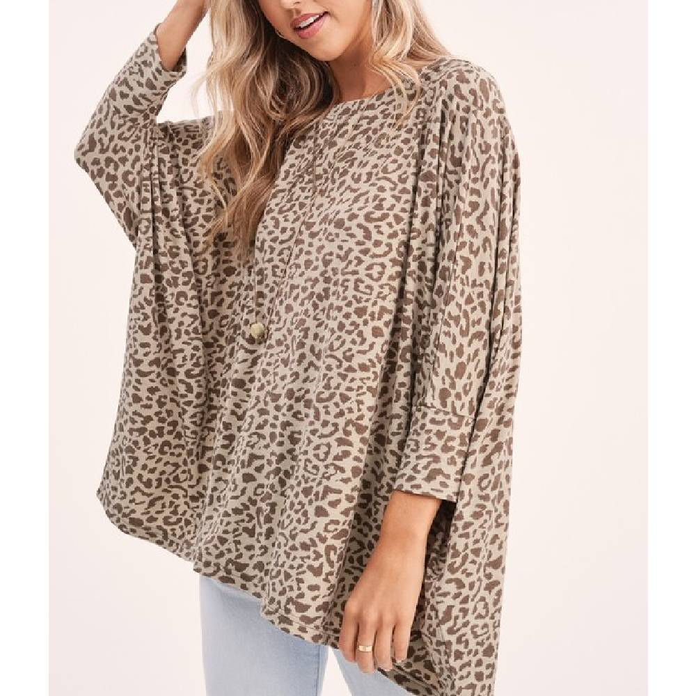 Olive Leopard Print Top WOMEN - Clothing - Tops - Short Sleeved LA MIEL Teskeys