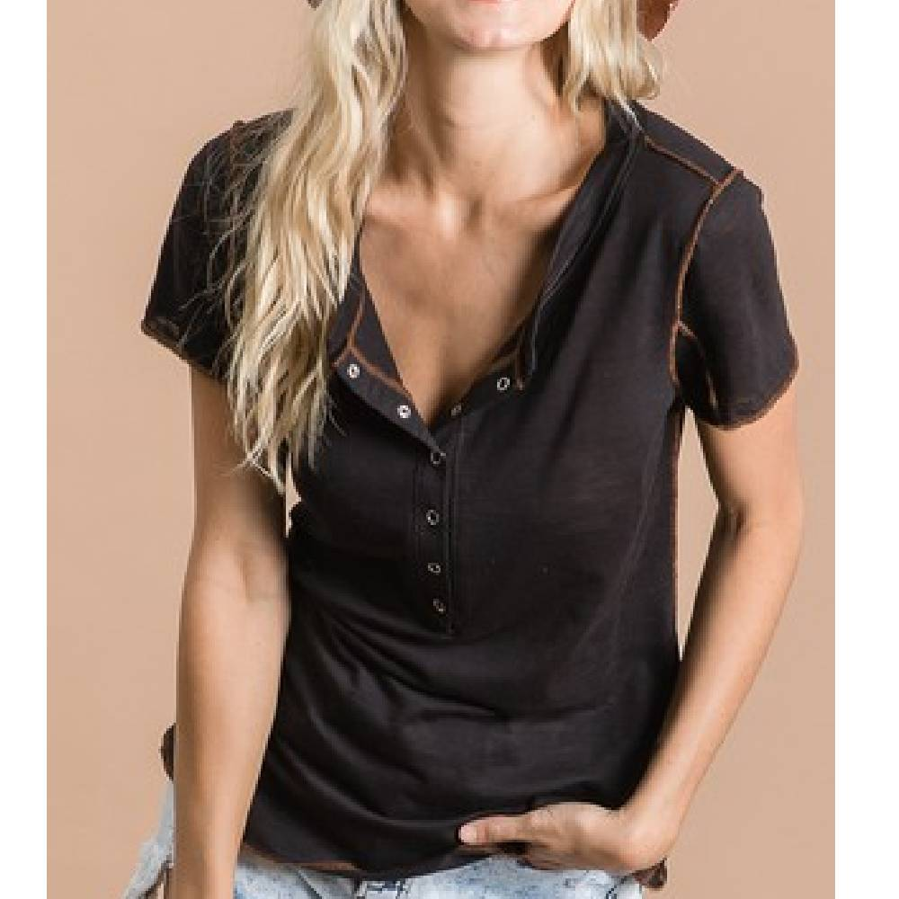 Solid Snap Henley Top WOMEN - Clothing - Tops - Short Sleeved Bucket List Teskeys
