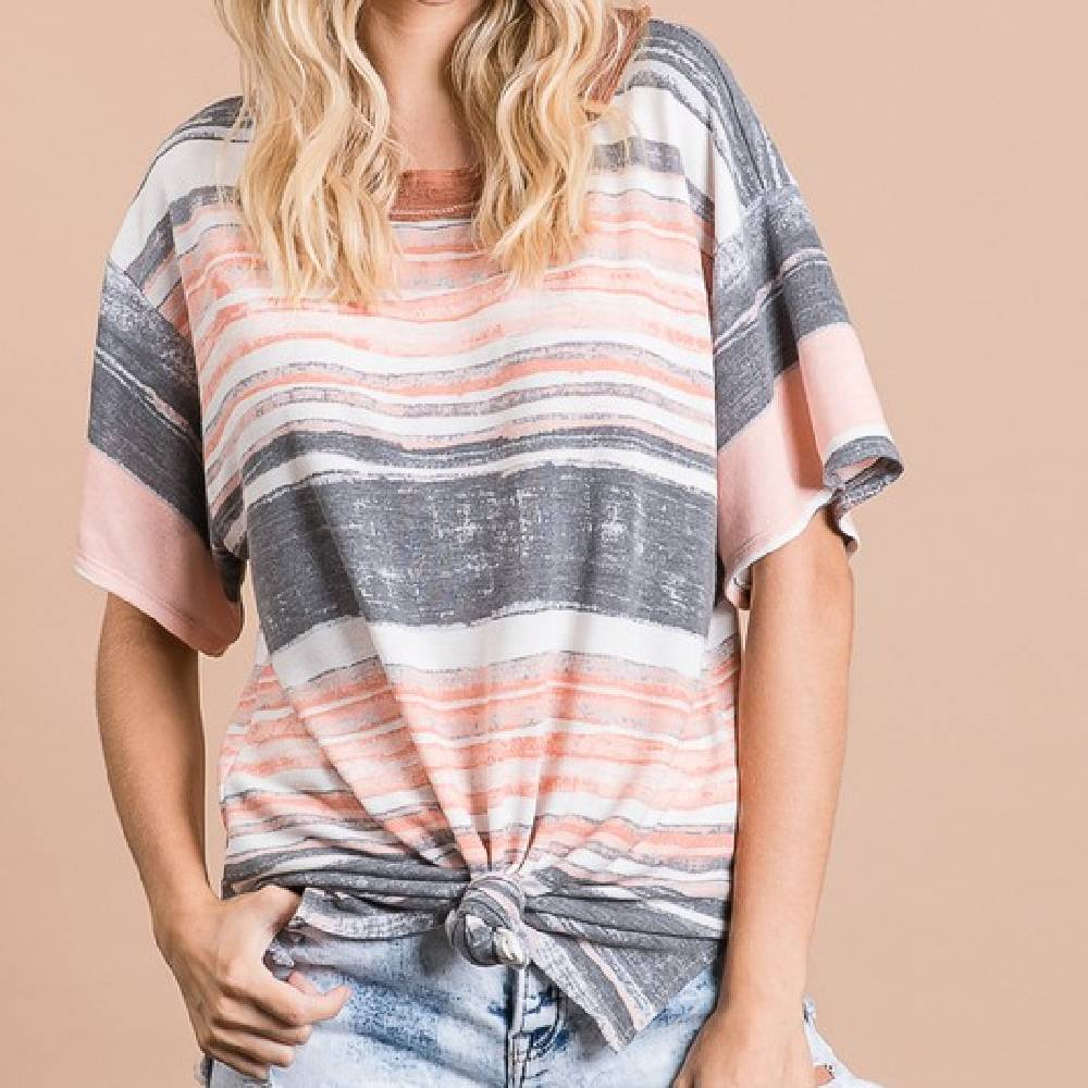 Striped Apricot Top WOMEN - Clothing - Tops - Short Sleeved Bucket List Teskeys