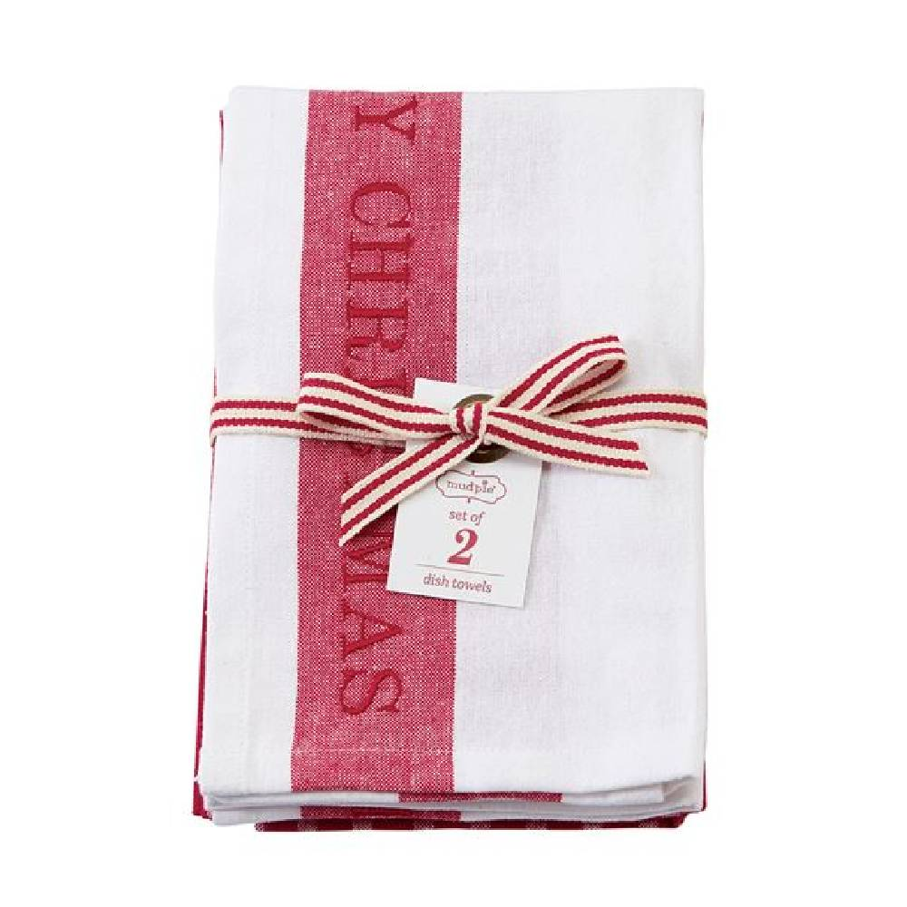 Mud Pie Merry Christmas Dish Towel Set HOME & GIFTS - Home Decor - Seasonal Decor Mud Pie Teskeys