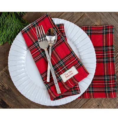 Mud Pie Red Tartan Napkin Set HOME & GIFTS - Home Decor - Seasonal Decor Mud Pie Teskeys