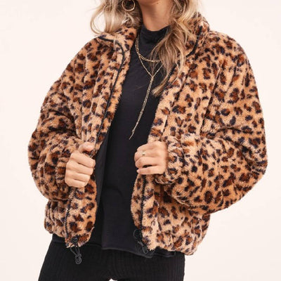 Leopard Print Faux Fur Jacket WOMEN - Clothing - Outerwear - Jackets LA MIEL Teskeys