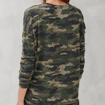 Lucky Brand Camo Hacci Crew Top WOMEN - Clothing - Tops - Long Sleeved LUCKY BRAND JEANS Teskeys