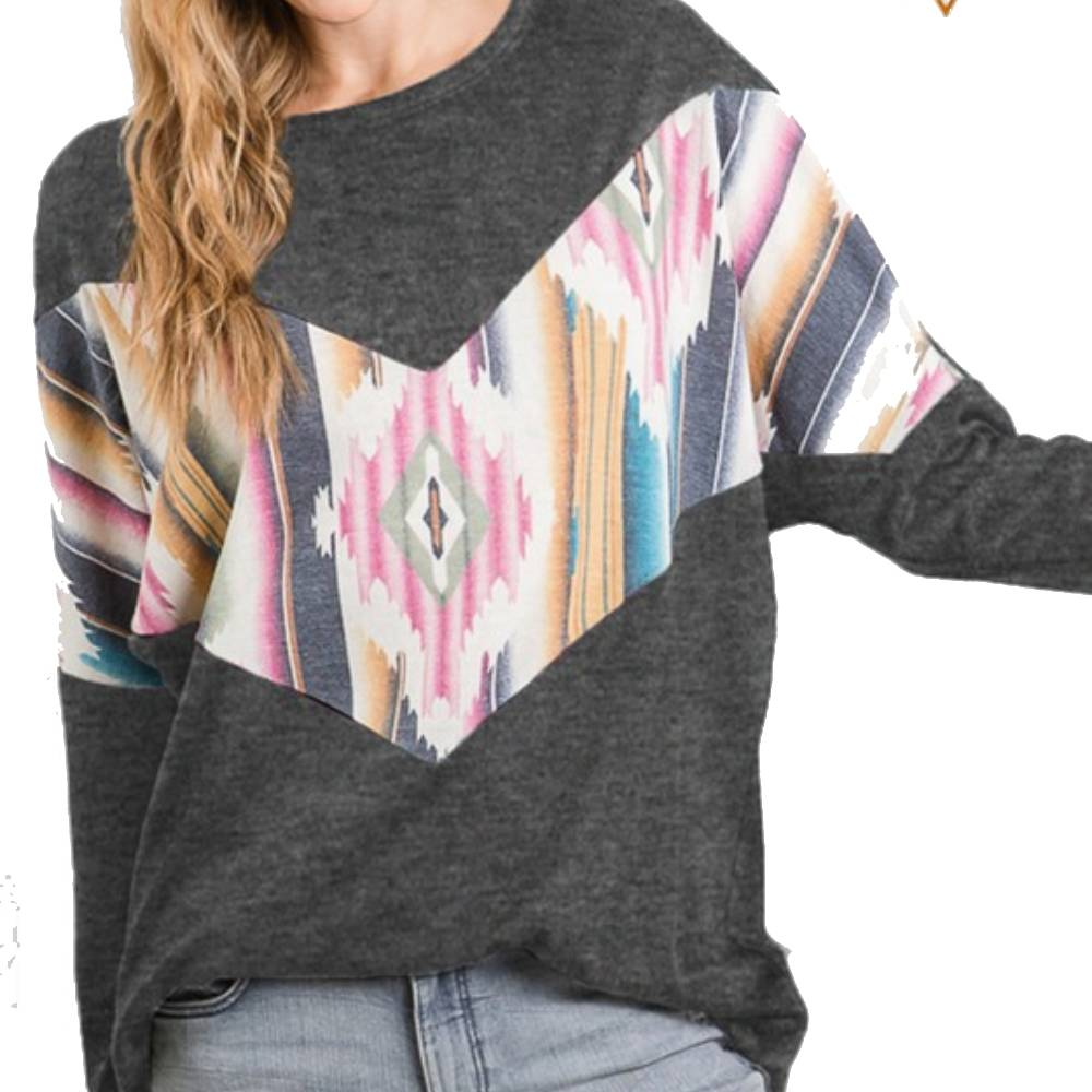 Aztec Print and Charcoal Sweater WOMEN - Clothing - Tops - Long Sleeved HEIMISH Teskeys