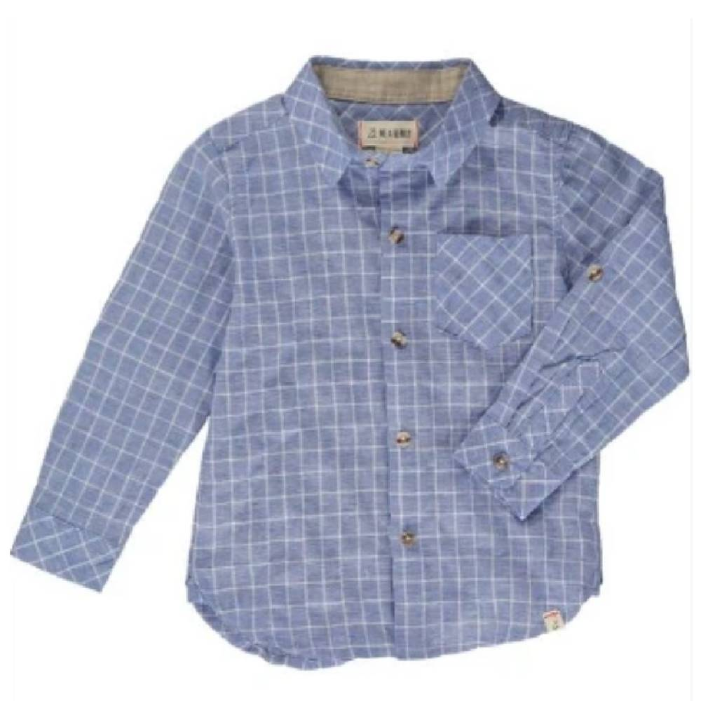 Me & Henry Blue Grid Button Shirt KIDS - Boys - Clothing - Shirts - Long Sleeve Shirts Me & Henry Teskeys