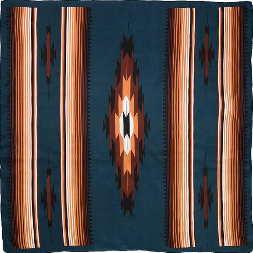 "20"" Aztec Wild Rag - Teal/Tan ACCESSORIES - Additional Accessories - Wild Rags & Scarves WYOMING TRADERS Teskeys"