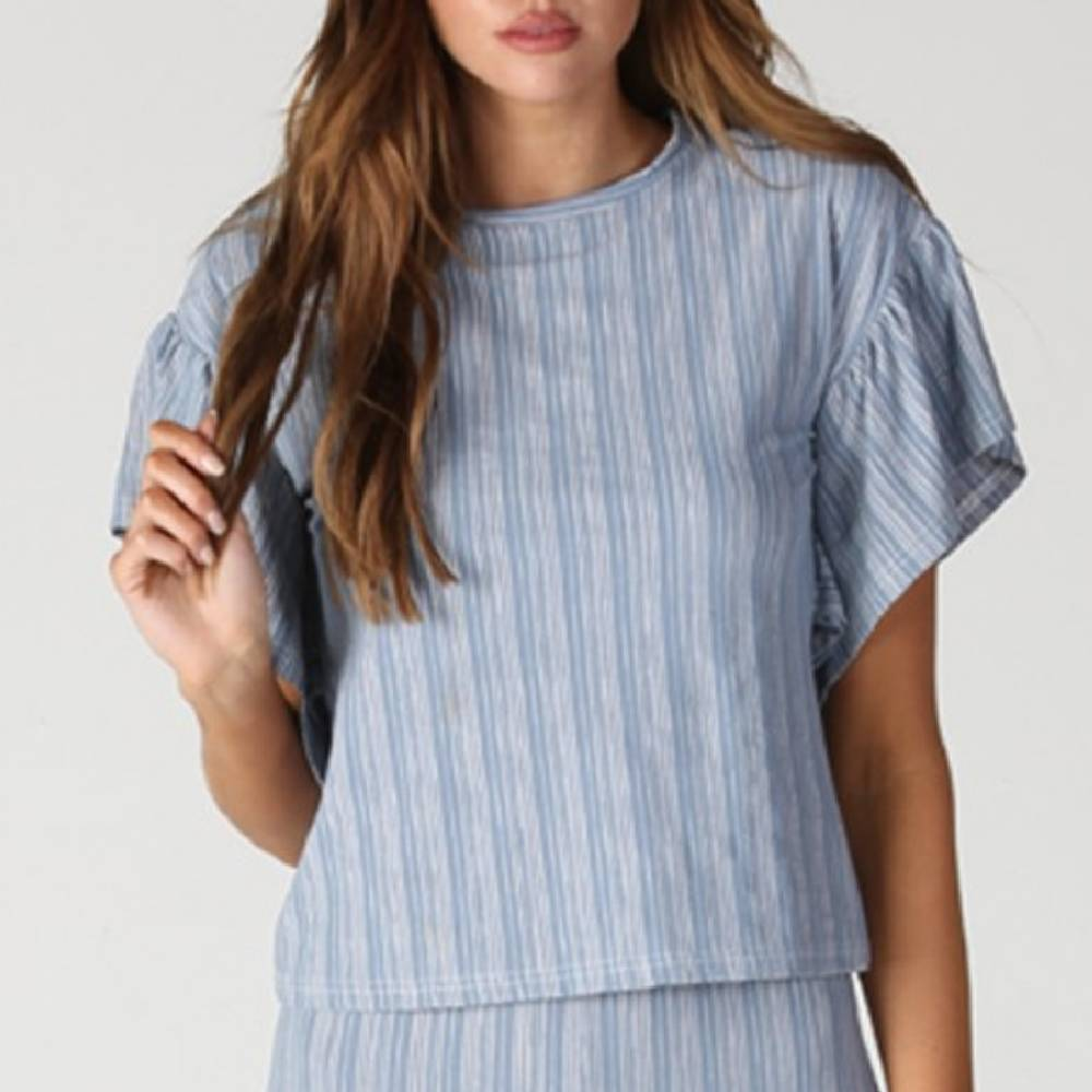 Blue Stripe Flounce Top WOMEN - Clothing - Tops - Short Sleeved ANGIE Teskeys
