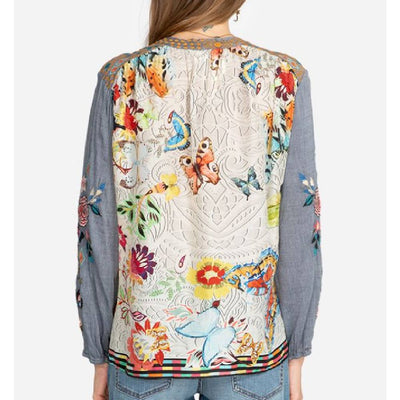 Johnny Was Mariposa Denim Blouse WOMEN - Clothing - Tops - Long Sleeved JOHNNY WAS COLLECTION Teskeys
