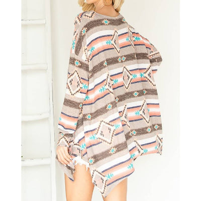 Aztec Asymmetrical Top WOMEN - Clothing - Tops - Long Sleeved First Love Teskeys