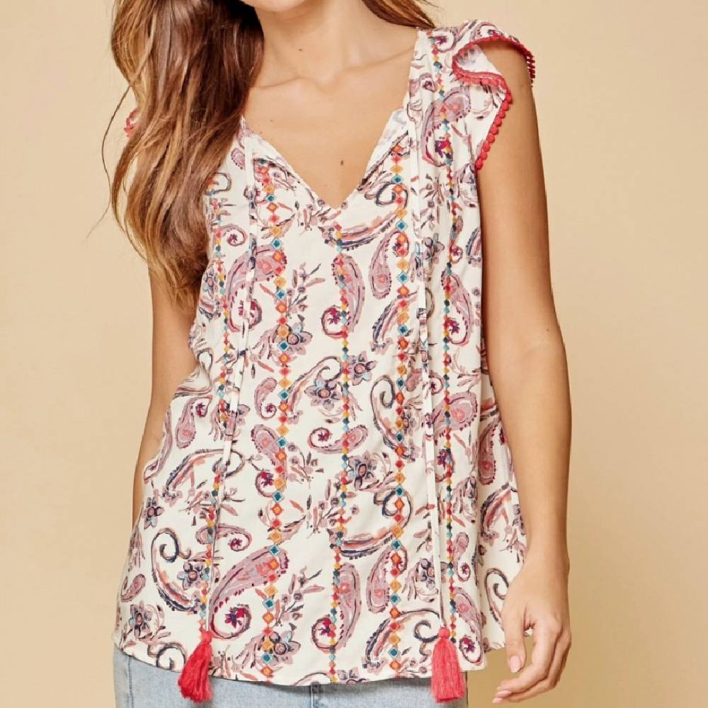 Sleeveless Ivory Paisley Print Top