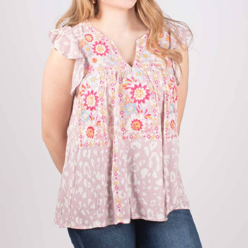 Lavender Floral Embroidered Top