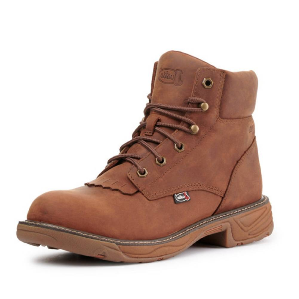 Justin Barley Brown Lace Up Boot MEN - Footwear - Work Boots JUSTIN BOOT CO. Teskeys