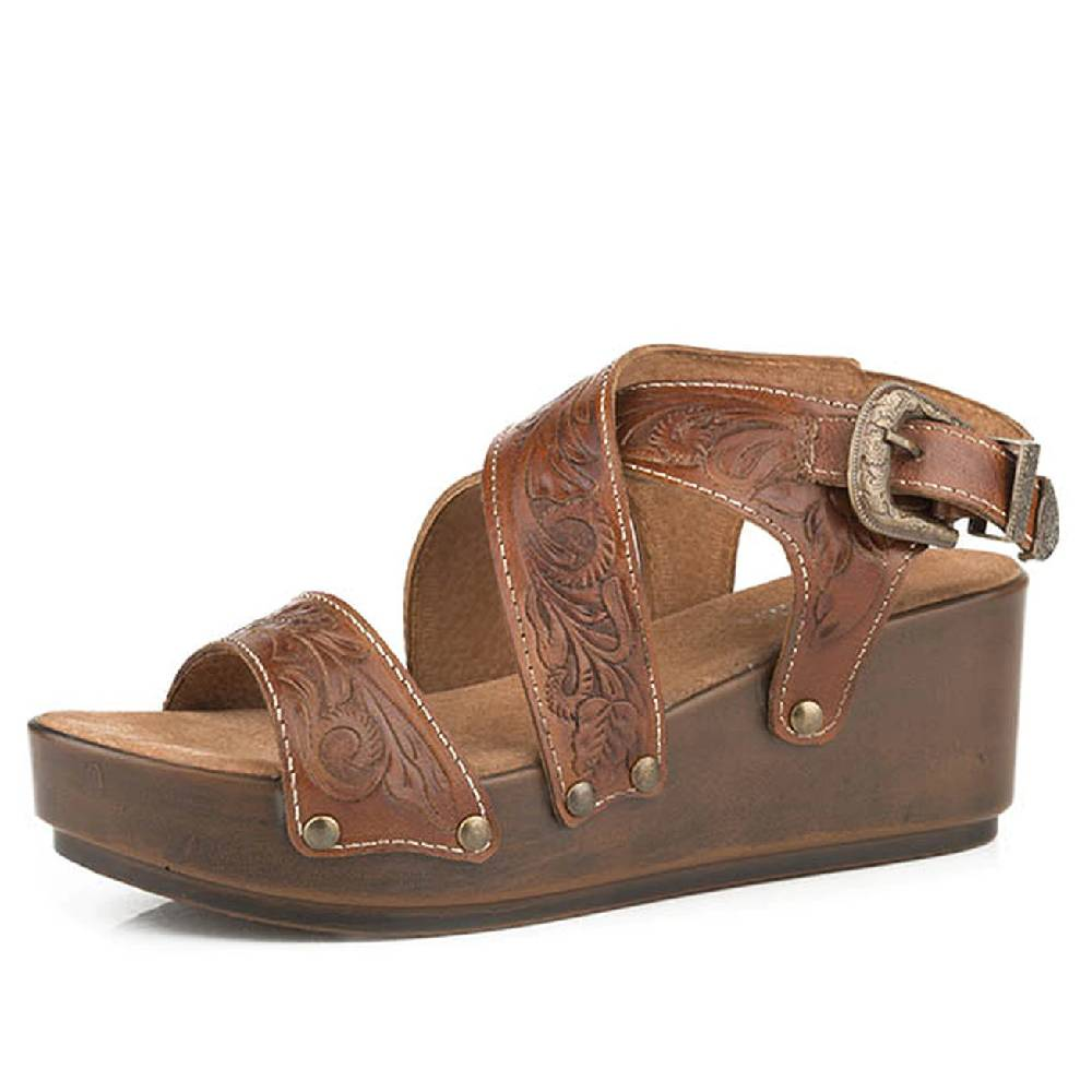Roper Tooled Cross Band Leather Wedge Sandal WOMEN - Footwear - Sandals ROPER APPAREL & FOOTWEAR Teskeys